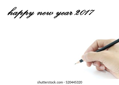 Hand writing happy new year 2017 on white background.