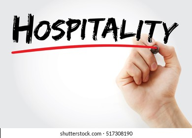Hand writing Hospitality with marker, concept background