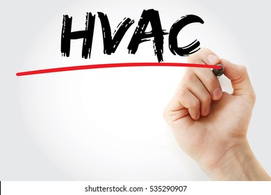 Hand writing HVAC with marker, concept background