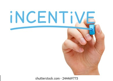 Hand writing Incentive with blue marker on transparent wipe board isolated on white.