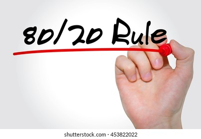 "Hand writing inscription ""80/20 Rule"" with marker, concept"