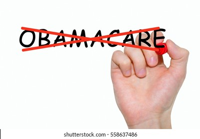 Hand writing inscription Obamacare with marker, concept