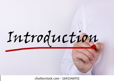 Hand writing Introduction with red marker. Business, technology, internet concept.