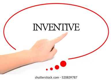 Hand writing INVENTIVE  with the abstract background. The word INVENTIVE represent the meaning of word as concept in stock photo.