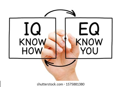 Hand writing IQ Know How and EQ Know You with marker on transparent wipe board isolated on white. Intelligence quotient and Emotional intelligence quotient concept.