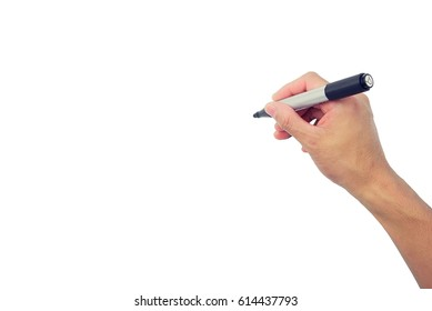 Hand writing isolated on white background.