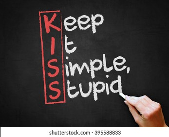A hand writing 'Keep It Simple, Stupid' on chalkboard.