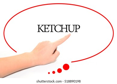 Hand writing KETCHUP  with the abstract background. The word KETCHUP represent the meaning of word as concept in stock photo.