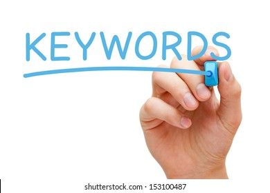Hand writing Keywords with blue marker on transparent wipe board.