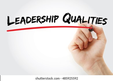 Hand writing Leadership qualities with marker, concept background