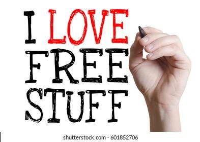 Hand writing I love free stuff on a virtual screen