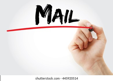 Hand writing Mail with marker, concept background