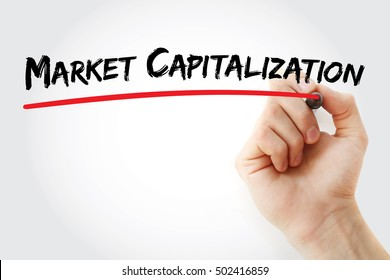 Hand writing Market capitalization with marker, concept background