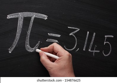 Hand writing the mathematical sign or symbol for Pi on a blackboard