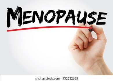 Hand writing Menopause with marker, health concept background