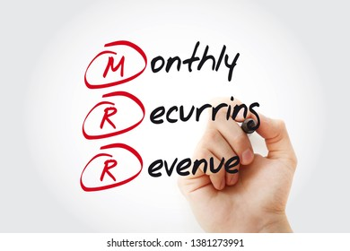 Hand writing MRR - Monthly Recurring Revenue with marker, acronym business concept