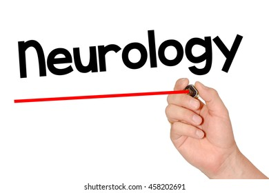 Hand writing neurology with marker, concept background