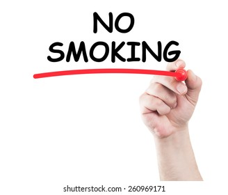 Hand writing no smoking underline text on transparent wipe board with white background and copy space