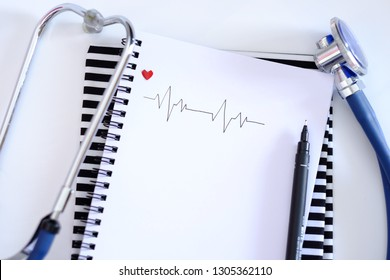 Hand writing the normal Electrocardiography on the white copy space. Hospital concept.