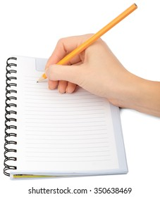 Hand writing in notebook on isolated white background