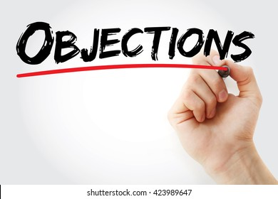 Hand writing Objections with marker, business concept background