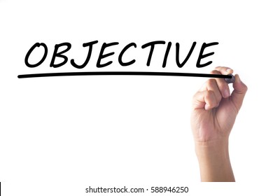 Hand writing OBJECTIVE on transparent board.