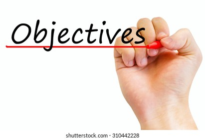 Hand writing Objectives with red marker. Isolated on white background. Business, technology, internet concept. Stock Image