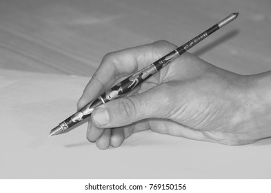Hand writing with an old stylus