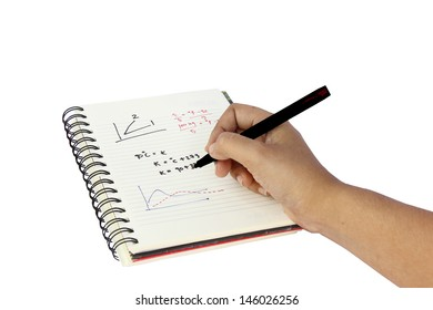 Hand writing on a book in white background.