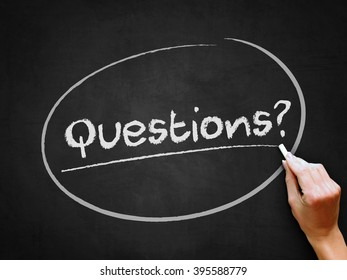 A hand writing 'Questions?' on chalkboard.