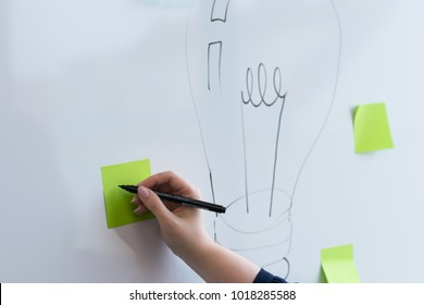 A woman's hand writing on a green note mind map creative idea concept