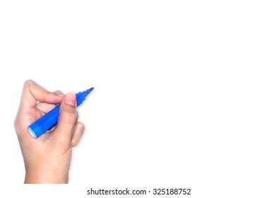 Hand writing on white background