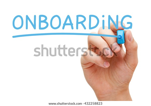 Hand writing Onboarding with blue marker on transparent wipe board isolated on white.