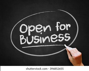 A hand writing 'Open for Business' on chalkboard.