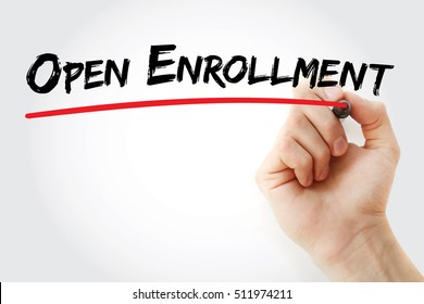 Hand writing Open enrollment with marker, concept background