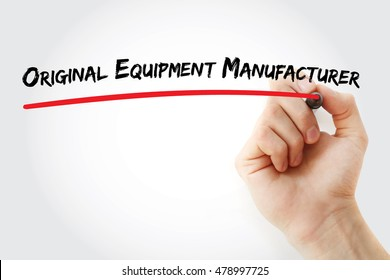 Hand writing Original Equipment Manufacturer with marker, concept background