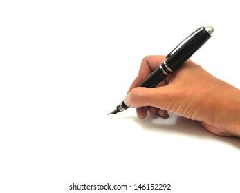Hand writing over white