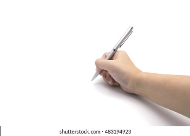 Hand Writing with Pen Isolated White Background Handwriting Paper Women Hand Drawing Sketching Write Note Message Office Supplies Business Women Working