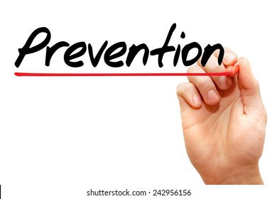 Hand writing Prevention with marker, concept