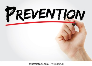 Hand writing Prevention with marker, health concept background