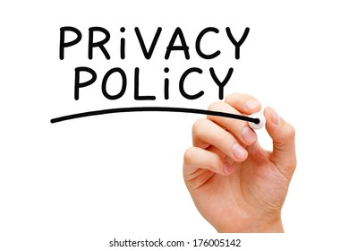 Hand writing Privacy Policy with black marker on transparent wipe board.
