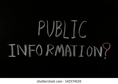 "hand writing ""public information"" on blackboard"