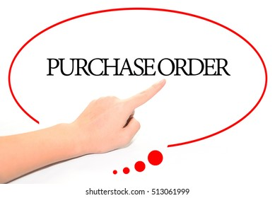 Hand writing PURCHASE ORDER  with the abstract background. The word PURCHASE ORDER represent the meaning of word as concept in stock photo.