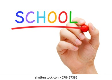 Hand writing School with marker on transparent wipe board isolated on white.