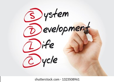 Hand writing SDLC - System Development Life Cycle with marker, acronym business concept
