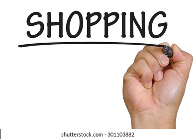 The hand writing shopping
