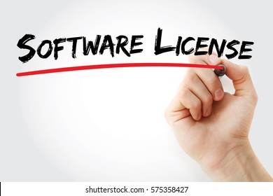 Hand writing software license with marker, technology concept background
