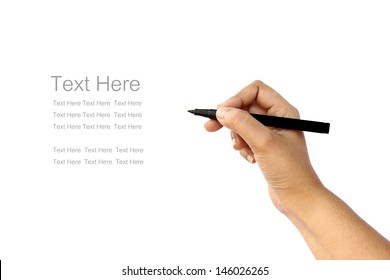 hand writing some text in white background