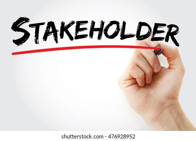 Hand writing Stakeholder with marker, concept background