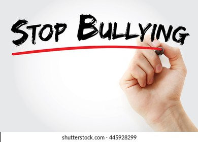 Hand writing Stop Bullying with marker, concept background